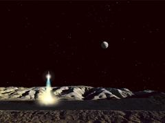 The Earth hangs in the low lunar sky as a sleek moonship lifts off from the Stock Illustration