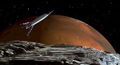 A spaceship in orbit over Mars moon, Phobos, with the red planet Mars in the - stock illustration