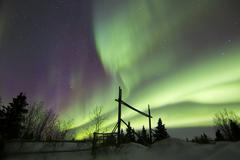 Aurora borealis over a ranch, Whitehorse, Yukon, Canada. Stock Photos