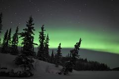 Aurora Borealis over Vee Lake, Northwest Territories, Canada. Kuvituskuvat