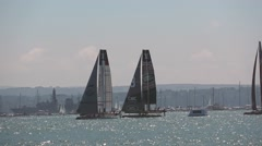 America's Cup qualifying series - Teams France and BAR are neck and neck. Stock Footage