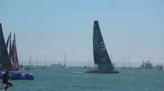 America's Cup qualifying series - Team BAR makes the best of light winds. Stock Footage