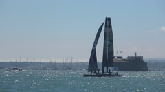 America's Cup qualifying series - Team BAR starts a downwind leg. Stock Footage