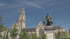 CLOSE UP: Beautiful Petro Paulo Rubens statue on Green Square in Antwerp Stock Footage
