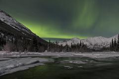 Aurora borealis over Annie Lake, Yukon, Canada. Kuvituskuvat