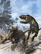 Ankylosaurus hits Tyrannosaurus rex with it's clubbed tail in self-defense. Stock Illustration