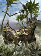 Corythosaurus being chased by a Tyrannosaurus Rex. Stock Illustration