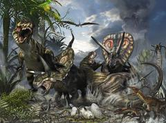 A family of Torosaurus protecting their eggs from a pair of Tyrannosaurus rex. Stock Illustration