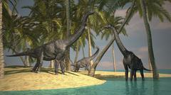 Brachiosaurus dinosaurs grazing at the water's edge. Stock Illustration