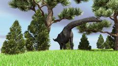 Large Brachiosaurus grazing among trees. Stock Illustration