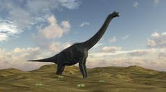 Large Brachiosaurus in a barren evnironment. Stock Illustration