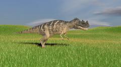 Ceratosaurus hunting in prehistoric grasslands. - stock illustration