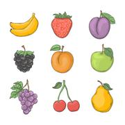 Fruit and berry set Stock Illustration