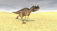 Ceratosaurus running across a barren desert. Stock Illustration