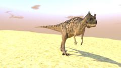 Ceratosaurus hunting in a barren desert. - stock illustration