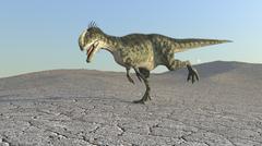 Monolophosaurus running across a barren desert. Stock Illustration
