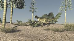 Monolophosaurus walking across an open desert. Piirros