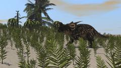Brown Einiosaurus grazing a desert environment. Stock Illustration