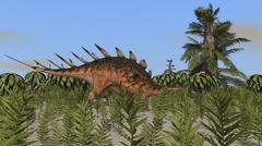 Kentrosaurus grazing amongst desert plants. Stock Illustration