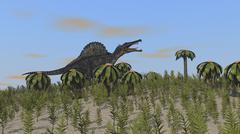 Spinosaurus hunting in a desert environment. - stock illustration