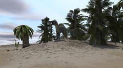 Suchomimus in a desert environment. Stock Illustration
