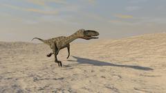 Coelophysis running across a barren desert. - stock illustration