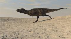 Majungasaurus running across a barren desert. Stock Illustration