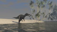 Suchomimus hunting for food at the edge of a lake. Stock Illustration