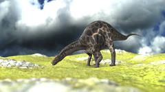 Dicraeosaurus grazing an open field. Stock Illustration