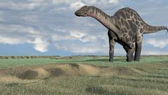 Dicraeosaurus walking across an open desert. - stock illustration