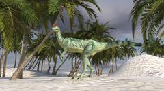 Dilophosaurus hunting in an arid climate. Stock Illustration
