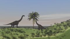 Two large Brachiosaurus grazing on a tall tree. Stock Illustration