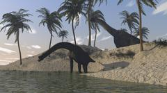 Two large Brachiosaurus grazing along the water's edge. Stock Illustration