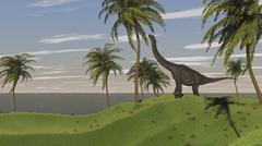 Large Brachiosaurus grazing. Stock Illustration