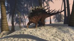 Kentrosaurus roaming in a tropical setting. - stock illustration