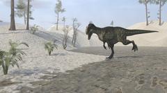Monolophosaurus running across a desert landscape. Stock Illustration