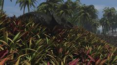 Triceratops grazing on lush foliage. Stock Illustration