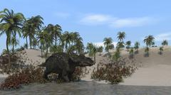 Triceratops walking along the shoreline. - stock illustration