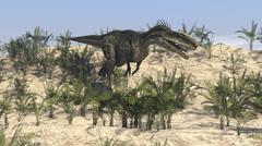 Dilophosaurus running across desert terrain. Stock Illustration