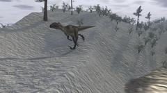 Utahraptor running down a hill. - stock illustration