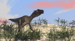 Utahraptor in an arid climate. Stock Illustration