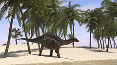 Dicraeosaurus walking along the shoreline. Stock Illustration