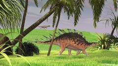 Kentrosaurus walking through a field, with a Ceratosaurus in background. Stock Illustration