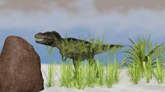 Tyrannosaurus Rex hunting for its next meal. Stock Illustration