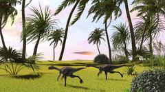 Two Gigantoraptors running across a grassy field. - stock illustration