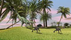 A Dilophosaurus chasing two Gigantoraptors across a grassy field. - stock illustration