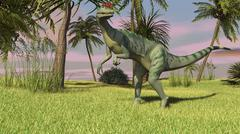 Dilophosaurus hunting in a field for its next meal. - stock illustration