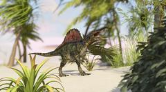 Spinosaurus hunting for its next meal. - stock illustration