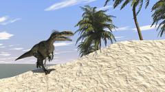 Monolophosaurus running along the shore. Stock Illustration