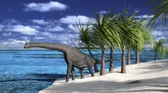 Large Brachiosaurus on the shoreline. Stock Illustration